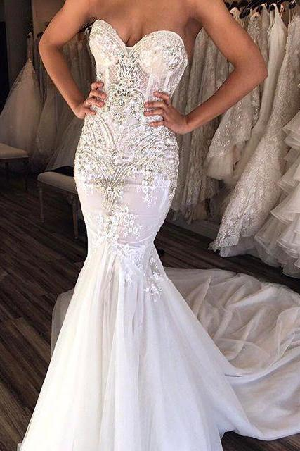 Custom Made White Strapless Sweetheart Neckline Lace Mermaid Wedding Dress with Train