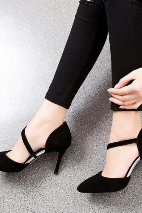 Suede Pointed-Toe Asymmetrical Strap Stiletto Pumps, High Heels