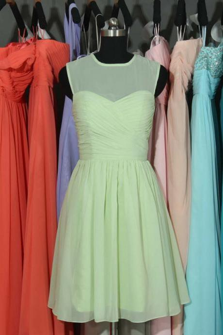 Customisable Mint Green Illusion Neckline Chiffon Knee Length Bridesmaid Dresses