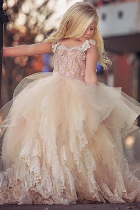 Tulle Lace Top Quality Pink Hot Sale Flower Girl Dresses For Wedding Party