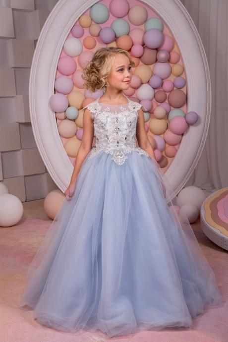 Sleeveless Appliques Top Tulle Pretty Flower Girl Dresses With Backless