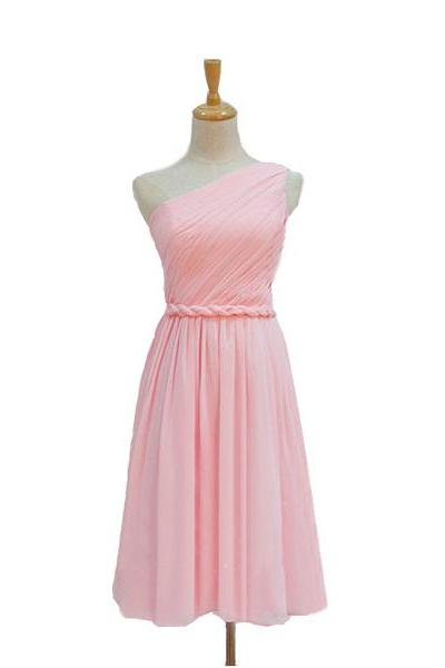 Custom Made Pink One-Shoulder Neckline Short Chiffon A-Line Bridesmaid Dress