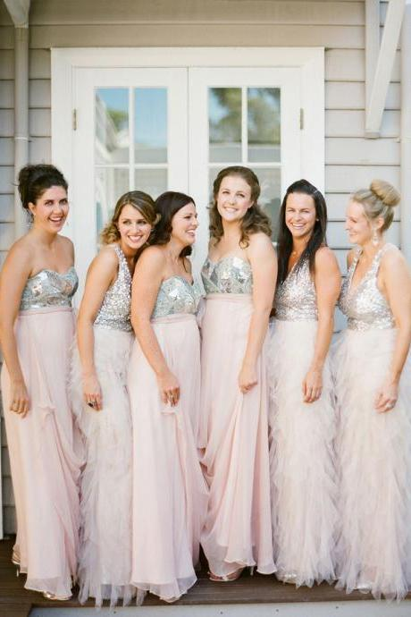 Customisable Sequin Floor Length Chiffon Bridesmaid Dresses