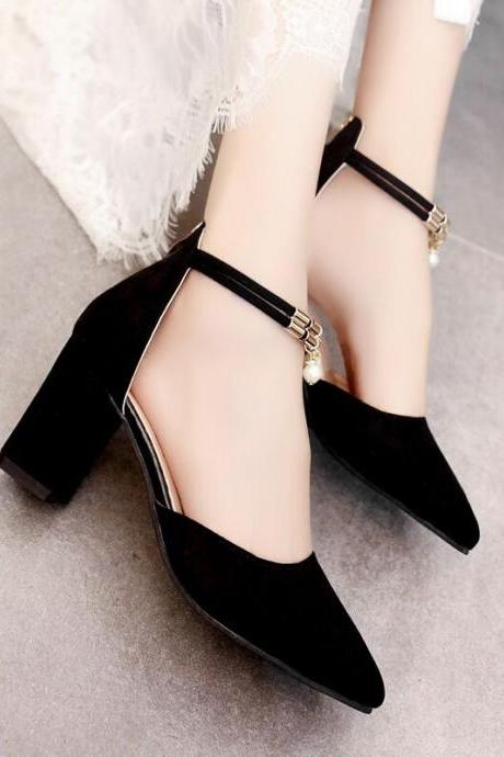 Womens Suede Sexy Hasp Pointy Toe Stiletto Strap Pumps