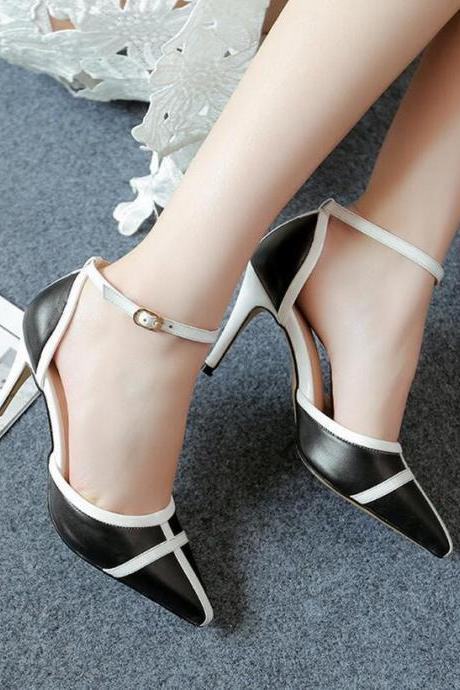 Sandals Heels Women Leather Hasp High Heel Pumps Mixed Colors Pointed Toe