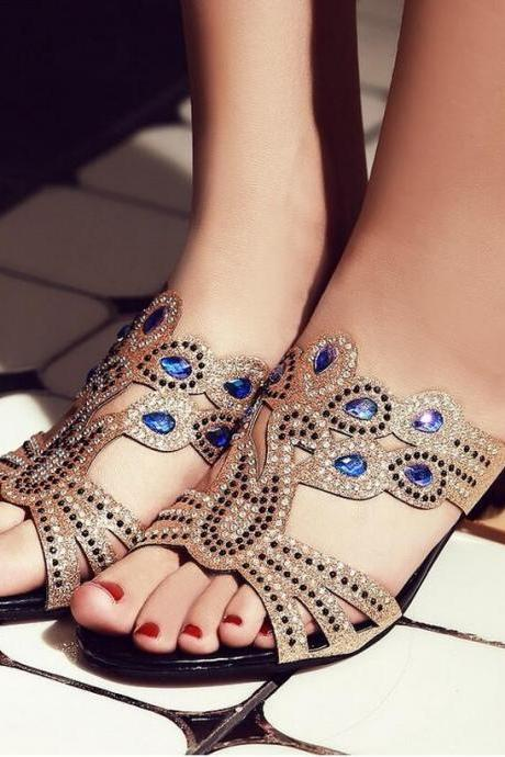 Sandals Heels Women's Summer Fashion Explosions Peacock Rhinestone Rough Heels