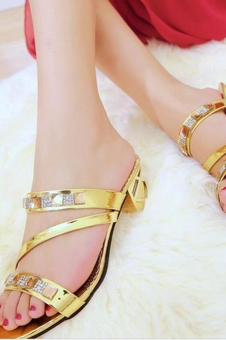 Sandals Heels Women Summer Main Fashion Solid Color