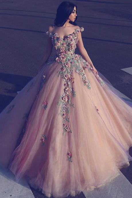 Cheap prom dresses 2017,Saudi Arabian Long Evening Dresses Ball Gown Off the Shoulder Deep V Neck 3D Flowers Women Formal Party Dress