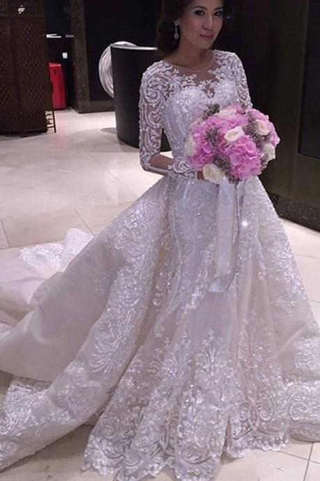 Luxury Wedding Dress, Ball Gown Wedding Dresses , White Ivory Wedding Dresses ,Long Sleeve Wedding Dresses ,Sexy Wedding Dresses