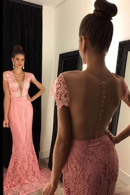 Custom Made Pink V- Neckline Cap Sleeve Lace Long Mermaid Bridesmaid Dress with Buttoned Back Detailing, Prom Dress