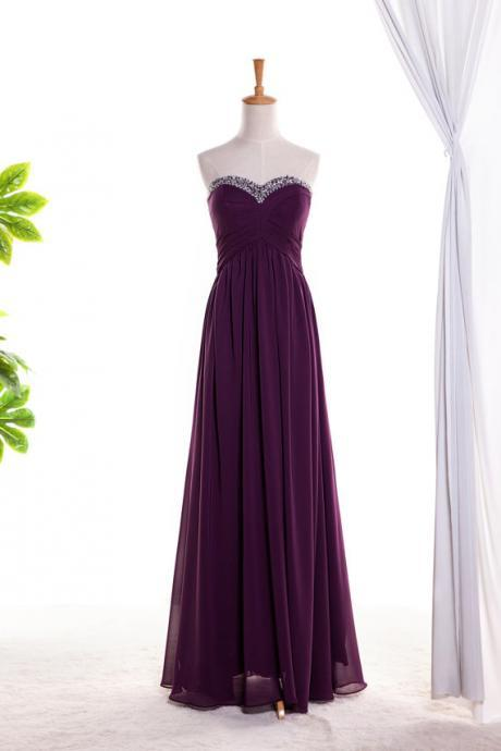 Custom Made Purple Plum Chiffon Strapless Sweetheart Neckline Floor Length Bridesmaid Dress With Beading