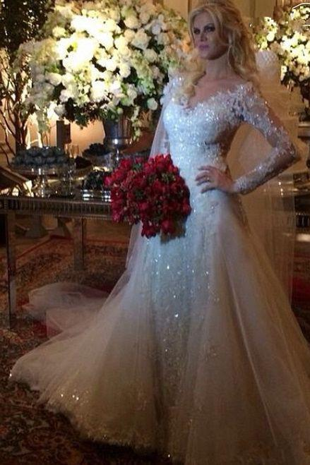 Custom Made New Fashionable A Line Long Sleeve Lace Wedding Dresses 2017 Court Train Vestido De Noiva