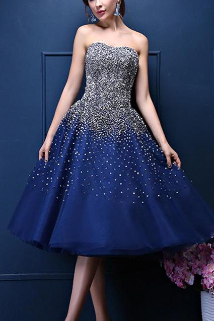 Custom Made Navy Blue Tea- Length A-Line Homecoming Dress with Rhinestone Beading