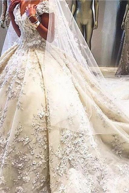 Cheap wedding dresses 2017,Luxury Wedding Dress, Chapel Train Wedding Dress, Elegant Wedding Dress, Rhinestones Wedding Dress, Lace Applique Wedding Dress, Ivory Wedding Dress, Satin Wedding Dress