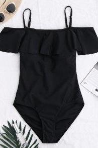 Black Cold-Shoulder Frilled One-Piece Swimwear
