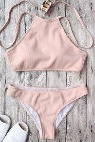 Ribbed Textured High Neck Bikini Set - Pink S