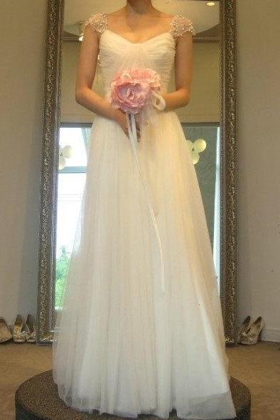 Ruched A-line Floor-Length Wedding Dress with Cap Sleeves
