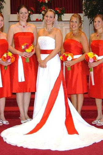 Cheap bridesmaid dresses 2017,Red A-line Knee Length Taffeta Bridesmaid Dress