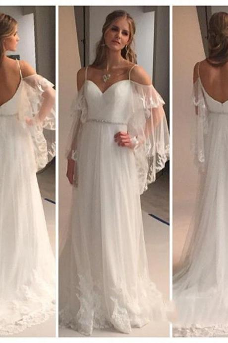 Romantic Bohemian Wedding Dresses with Batwing Sleeve 2017 Sexy Spaghetti Straps Beach Bridal Dress Backless vestido de novias