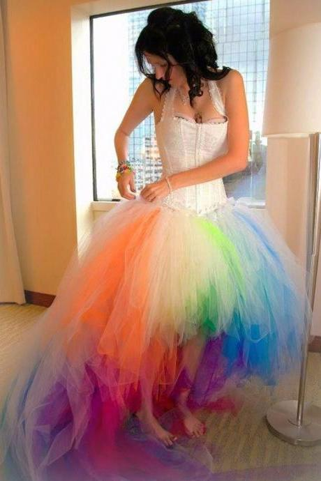 2017 Colorful Halter Women Prom Dresses High Low Wedding Dresses Sexy Quinceanera Gown Short Front Long Back Tulle Bridal Dresses