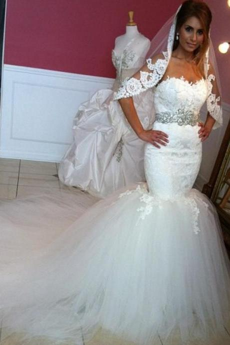 2017 Lace Mermaid Wedding Dresses Corset Applique Beaded Tulle Court Train Bridal Dresses Gowns for Brides