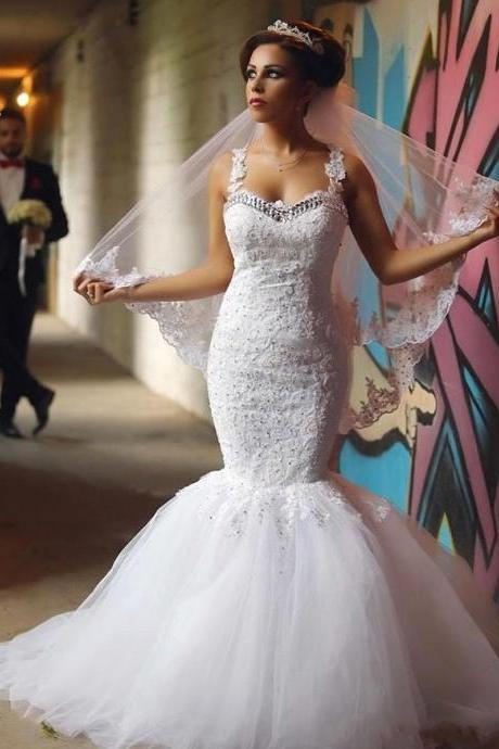 Spaghetti Strap Lace Appliqués Mermaid Wedding Dress Featuring Illusion Back