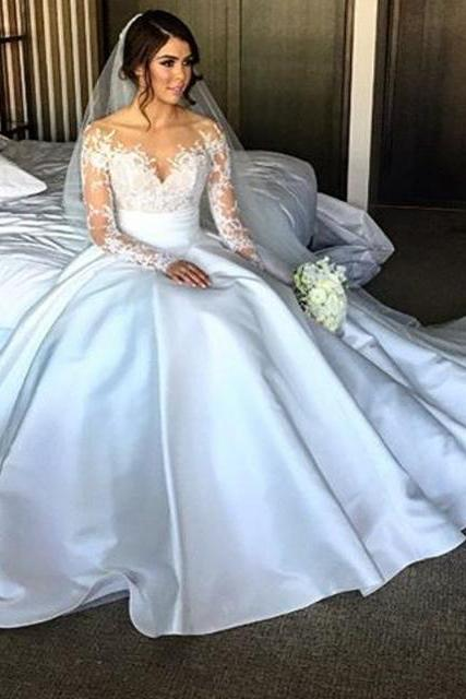 Cheap wedding dresses 2017,New Elegant Long Sleeve Appliques Taffeta Ball Gown Princess Wedding Dresses Bridal Gowns Vestido De Noiva