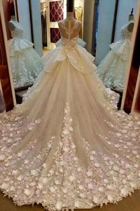 Cheap wedding dresses 2017,Cheap wedding dresses 2017,Lace Appliqued And Flowers Chapel Train Wedding Dresses,