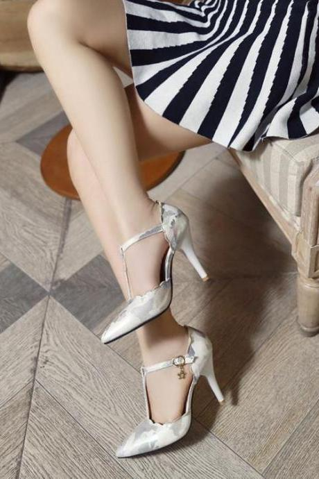 Women's Colour-matching High Heel Stiletto Pumps Sandals