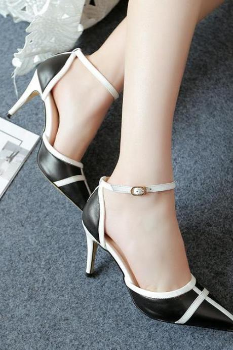 Women's Colour-matching Stiletto High Heel Pumps Sandals