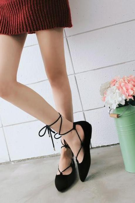 Women's Pure Color Pointed Toe Ballerina