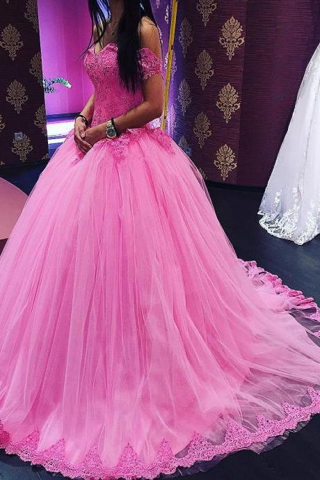 Cheap wedding dresses 2017,lace appliques ball gowns prom dress,elegant prom dress,elegant quinceanera dresses,pink wedding dresses