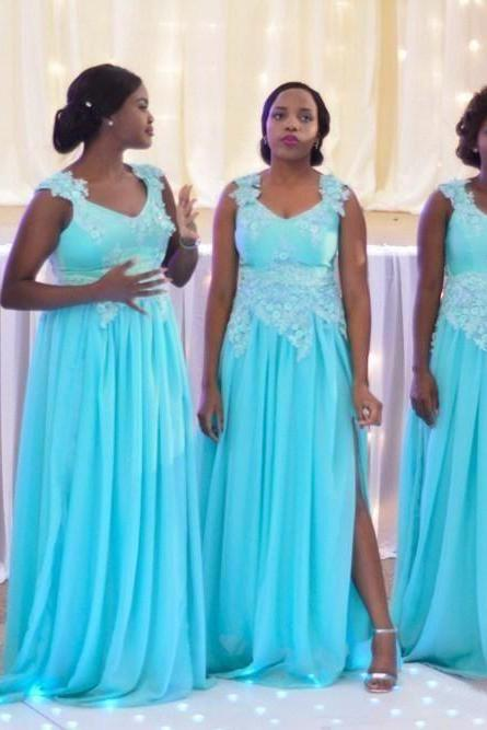 Sky Blue Lace Bridesmaid Dress, Long Bridesmaid Dress Plus Size, 2017 Cheap Bridesmaid Dress,