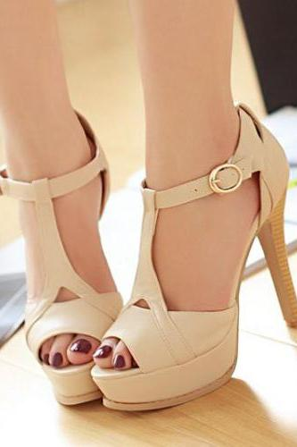 Stiletto High Heel T Strap Beige Fashion Sandals