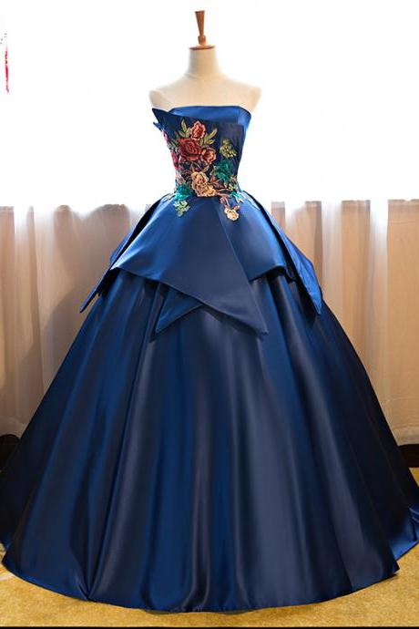 Cheap prom dresses 2017,Royal Blue Floor Length Satin Wedding Gown Featuring Floral Embroidered Strapless Straight Across Bodice and Lace-Up Back