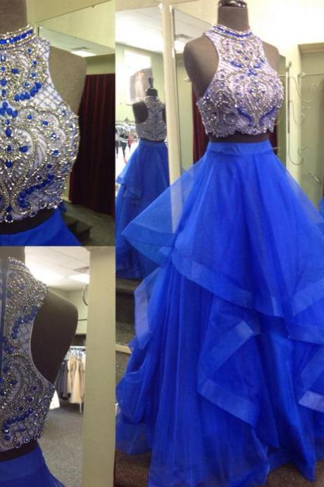 Cheap prom dresses 2017,New 2 Pieces Royal Blue Ball Gown Prom Dresses,Two Pieces Quinceanera Dresses Prom Gown,High Low Tiered Evening Gowns Quinceanera Dress
