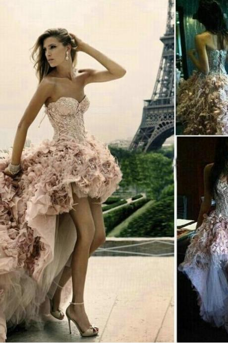 Custom Made High Low Floor-Length Feather Wedding Dresses, Prom Dresses with Fitted Corset Bodice