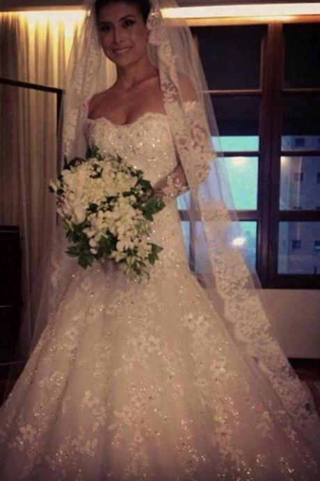 Cheap wedding dresses 2017,Exquisite Bridal Dresses Ivory/White Debutante Gowns Elegant Long Sleeve Lace Wedding Gowns