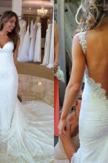 Cheap wedding dresses 2017,Romantic mermaid wedding dress back open white bridal dress sweetheart beaded floor-length wedding dress