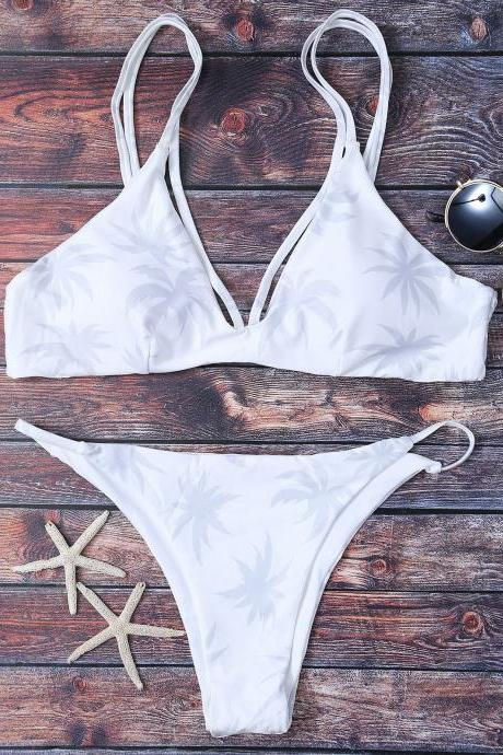 High Leg Palmtree Print Bikini Set - White S