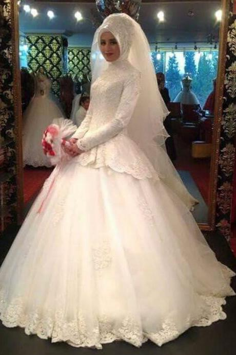 Cheap wedding dresses 2017,Louisvuigon Jacket Long Sleeve High Neck Muslim Ball Gown Wedding Dress With Appliques Lace Berta Bridal