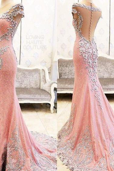 Cheap wedding dresses 2017,Sexy Evening Gowns Mermaid Pink Prom Dress, Pageant Prom Gown, Evening Gowns with Sweep Train