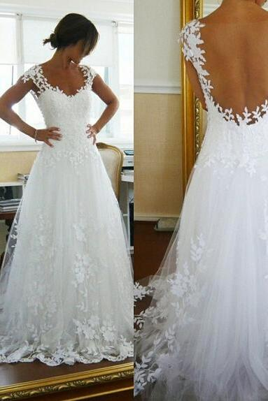 Floral Lace Appliques Plunge V Shoulder Straps Floor Length Tulle Wedding Gown Featuring Illusion Open Back