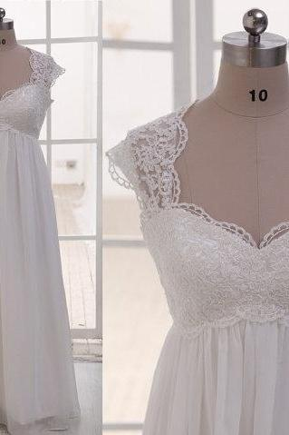 Cheap wedding dresses 2017,Cap Sleeves Empire Waist Lace Chiffon Beach Wedding Dress,See Through Sweetheart Wedding Gown, Custom Made Maternity Bridal Wedding Dresses,Pregnant Women Dress Prom