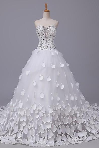 Strapless Sweetheart Crystal Beaded Princess Ball Gown Wedding Dress, Bridal Gown with Long Train