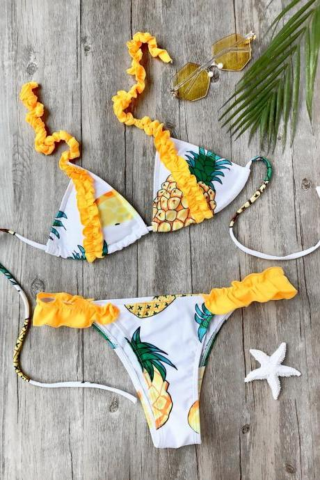 Frilled Pineapple Print Bikini Set - White S