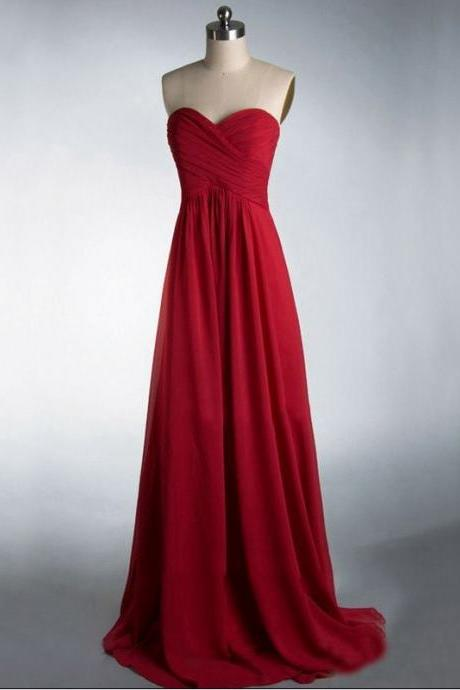 Custom Made Red Sweetheart Neckline Long Chiffon Bridesmaid Dress with Draped Detailing