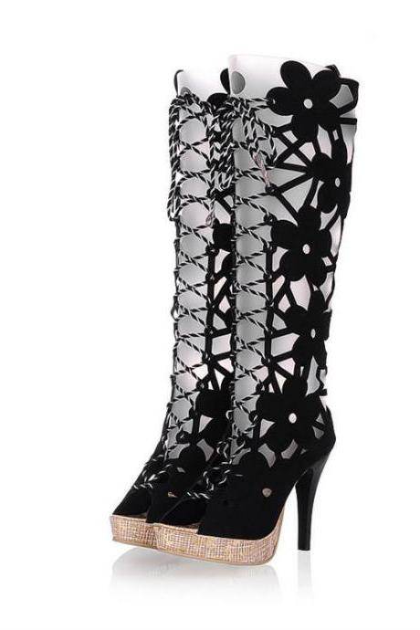 Sexy Black Lace up High heel Gladiator Sandals