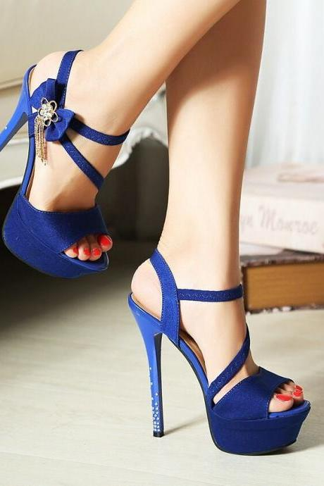 Bow Charmed Peep toe High Heel Sandals in Royal Blue and Rose