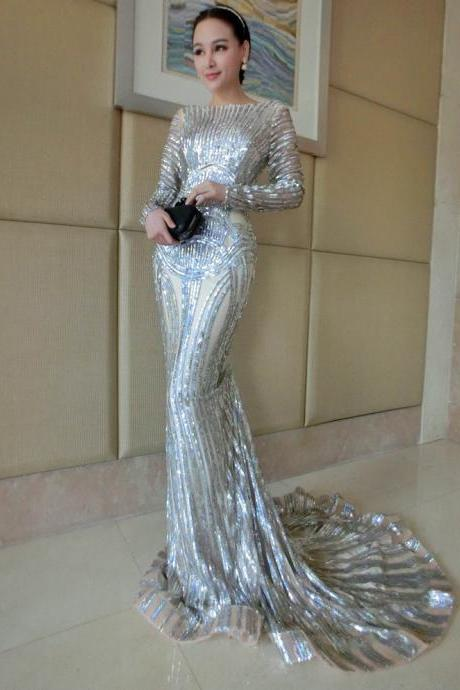 Luxury Silver Mermaid Prom Dresses Long Sleeve Sheer Neck Sequins Court Train Pageant Gowns Women Evening Dresses Cusomized